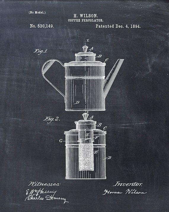 Imprimir patentes - cafetera lámina patente patente cartel - arte de pared de cocina - cocina Poster - Art Café - patente de café - café
