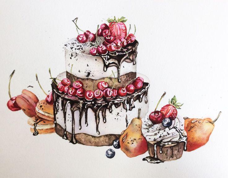 Купить Тортик с вишней - еда, вкусняшки, торт, тортик, рисунок, акварель, акварельная картина, натюрморт