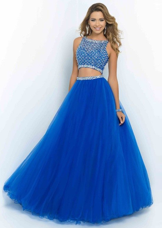 Fashion Cheap Sparkly Two Piece Beaded High Neck Brilliant Blue Prom Dress