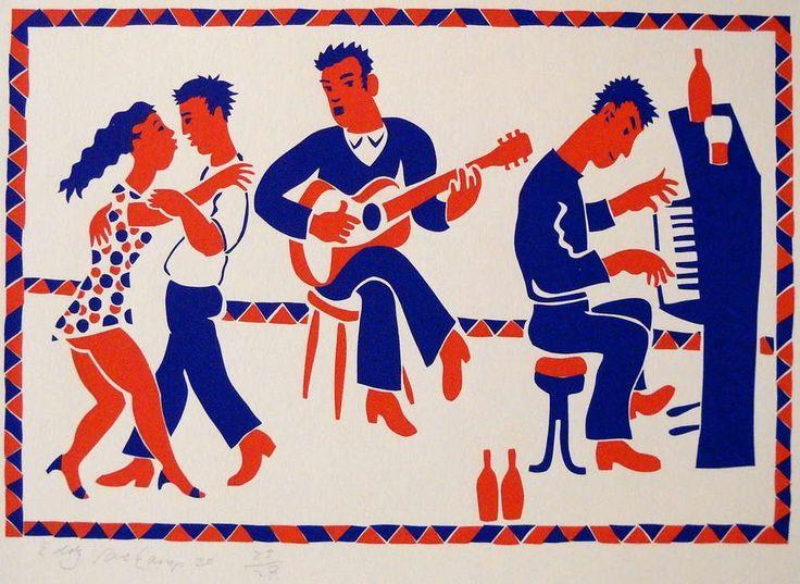 Music and dancing - Stencilprint