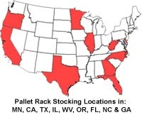 """SJF.com Stocking & Shipping Locations  for """"Quik-Ship"""" Pallet Rack Sales"""