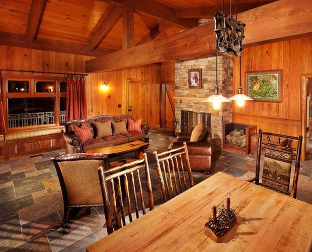 30 best images about beautiful log cabin dining rooms on pinterest credit score antler - Log homes interior designs ...