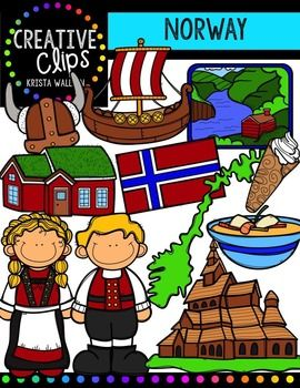 This 24-image set will make you feel like you are in Norway! Included are 13 vibrant colored versions and 11 black and white versions.Images include:- Borgund Stave Church- fjord landscape- fiskesuppe- house- krumkake- Norwegian boy- Norwegian girl- flag- Norway country- viking hat- viking ship**This set is included in my WORLD GRAPHICS TRIP bundle. $4.50