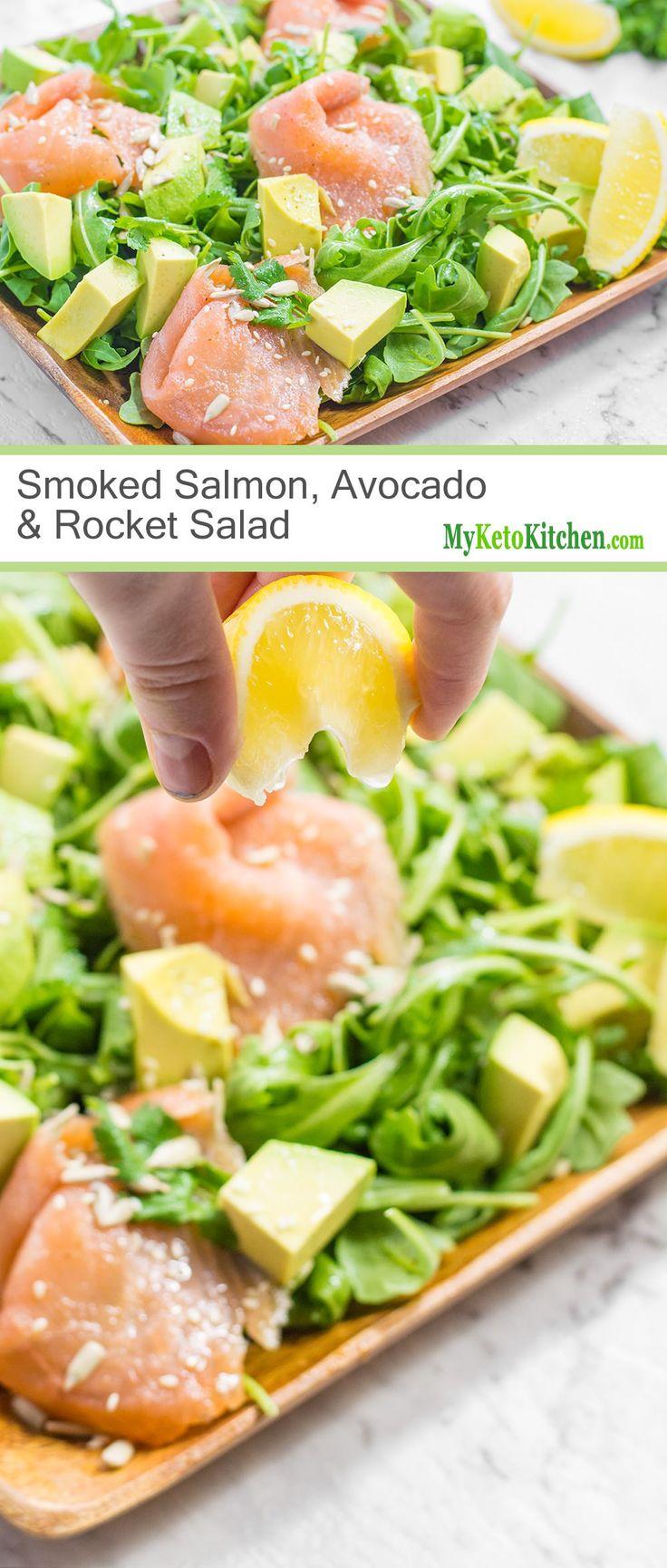 Smoked Salmon, Avocado & Rocket Salad (Low Carb, Keto, Paleo, Gluten Free)