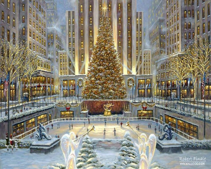 Rockefeller center ice rink christmas time crosses stitches patterns