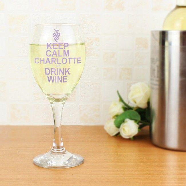 Keep Calm Wine Glass