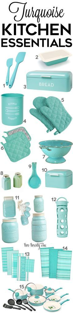 Turquoise kitchen decor and gadgets! << TwoTwentyOne
