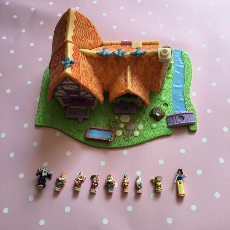 Vintage 1995 Disney Polly Pocket Snow White & The Seven Dwarfs Complete #PollyPocket