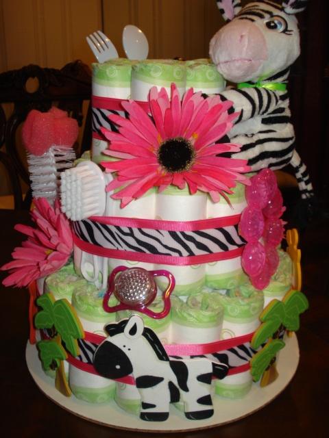 Zebra diaper cake!
