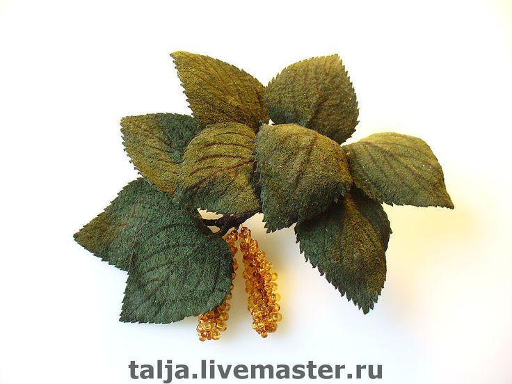 Купить Брошь из натуральной кожи Веточка берёзы - украшения ручной работы, авторская бижутерия