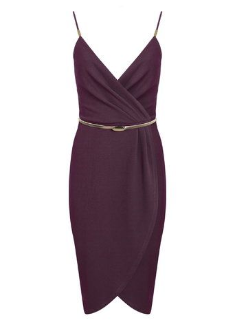 Burgundy Wrap Pencil Dress