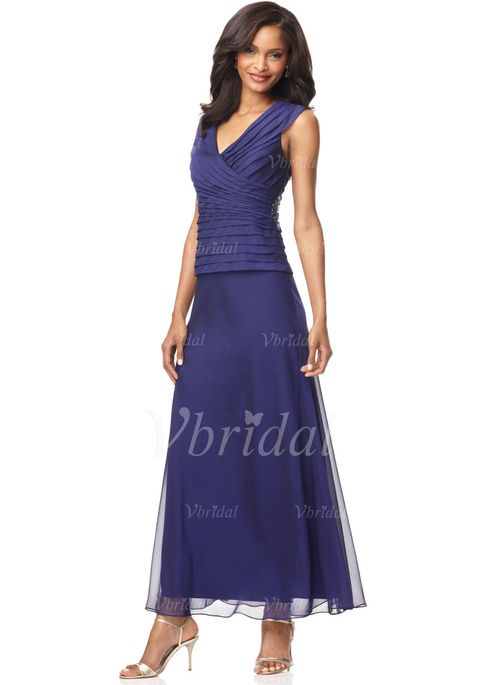 Mother of the Bride Dresses - $136.99 - A-Line/Princess V-neck Ankle-Length Chiffon Mother of the Bride Dress With Ruffle Beading (00805006626)