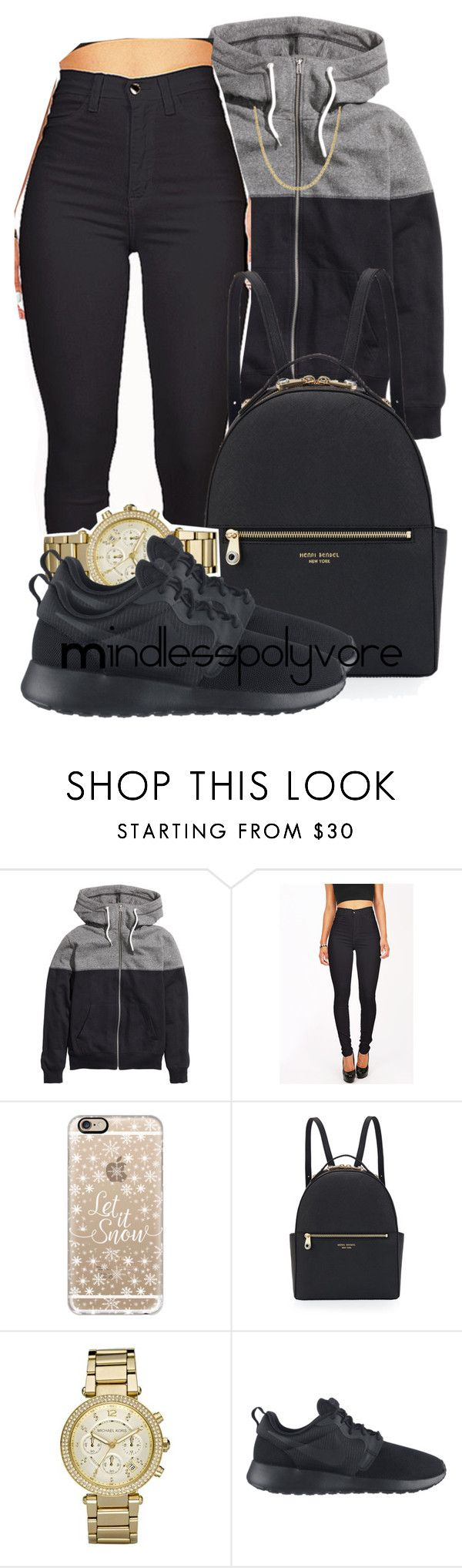 """""""Curiosity taking over me"""" by mindlesspolyvore ❤ liked on Polyvore featuring H&M, Casetify, Henri Bendel, Michael Kors, NIKE and Reeds Jewelers"""