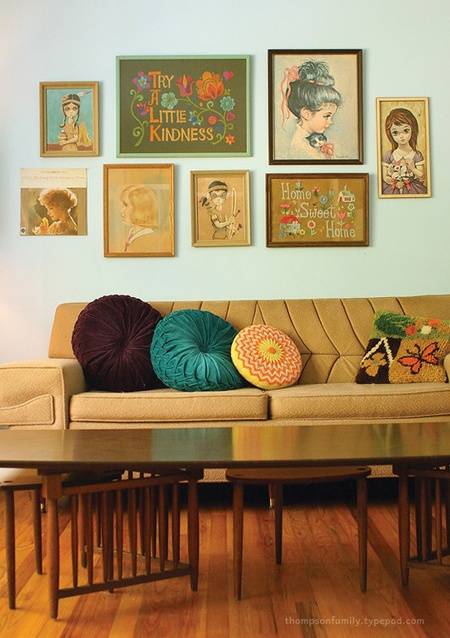 Like the vintage images & round cushions.