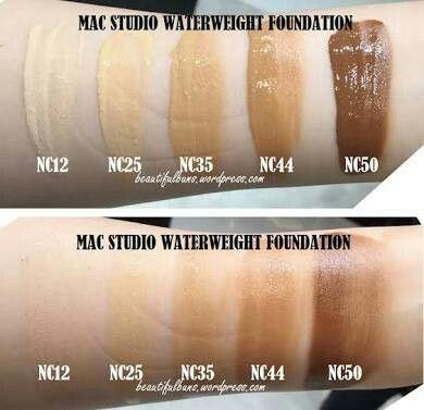Tonos - mac waterweight foundation, incluye mas tonos xoxo.