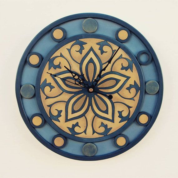 Mandala wall clock by artwoodstock on Etsy