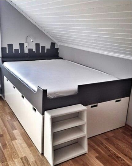 15 best spare room images on pinterest child room for Platform bed with drawers ikea