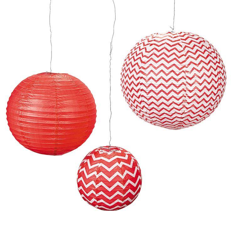"Red Chevron Lanterns - OrientalTrading.com. 12"" re zigzag, 15"" solid, 18"" white zigzag. $8"