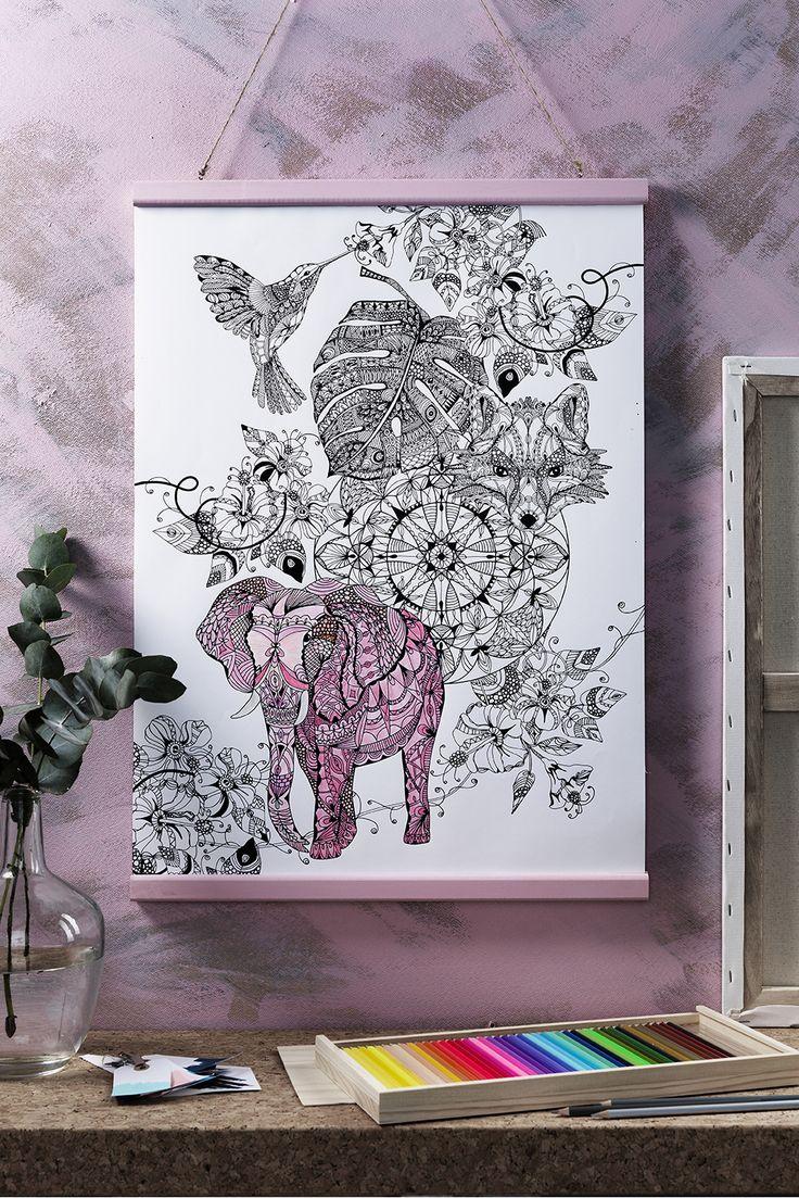 Coloring www.pandurohobby.com Wall art by Panduro #decoration #DIY #coloring #studio #frame #art #panduro