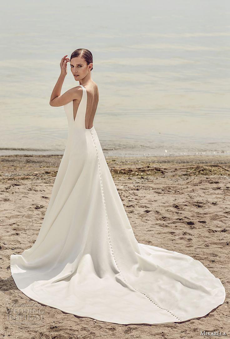 mikaella spring 2017 bridal sleeveless bateau neck simple clean design open side bodice a  line wedding dress open low back chapel train (2115) bv