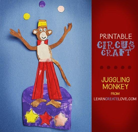 Fun Printable Circus Craft: Juggling Monkey