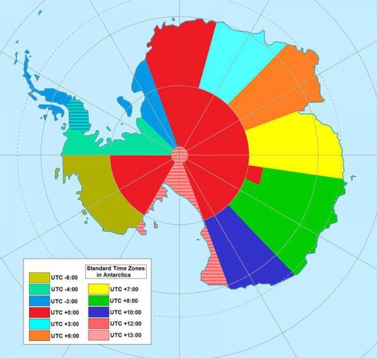 Weltkarten: Zeitzonen der Arktis