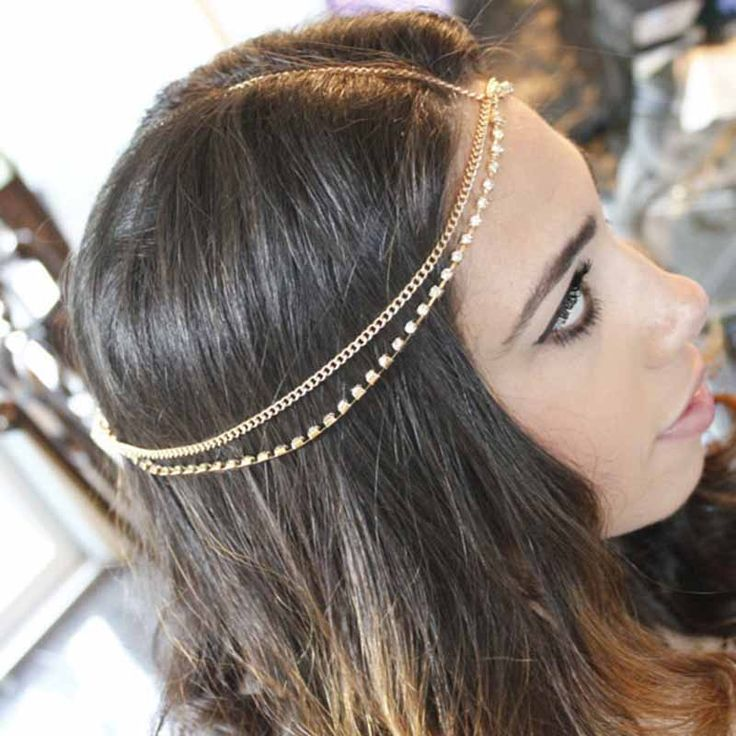 Classic Vrouwen Multilayer Ketting Drop Rhinestone Kwasten Hoofdband Haar Accessorie Voorhoofd Head Chain Hoofddeksel Sieraden T009