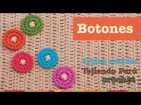 Mini tutorial # 2: botones tejidos a crochet / English subtitles: crochet buttons - YouTube