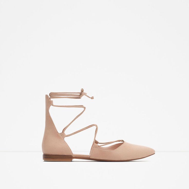 ZARA - WOMAN - POINTED LACE-UP BALLERINAS