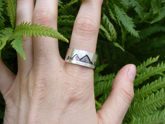 Size 9.5 Ready to Ship Sterling Silver Mountain ring | Handmade mountain rang jewelry