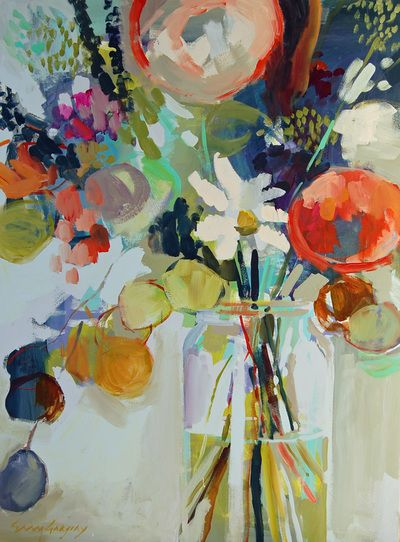 I love the style and colors Still Life paintings by Erin Gregory