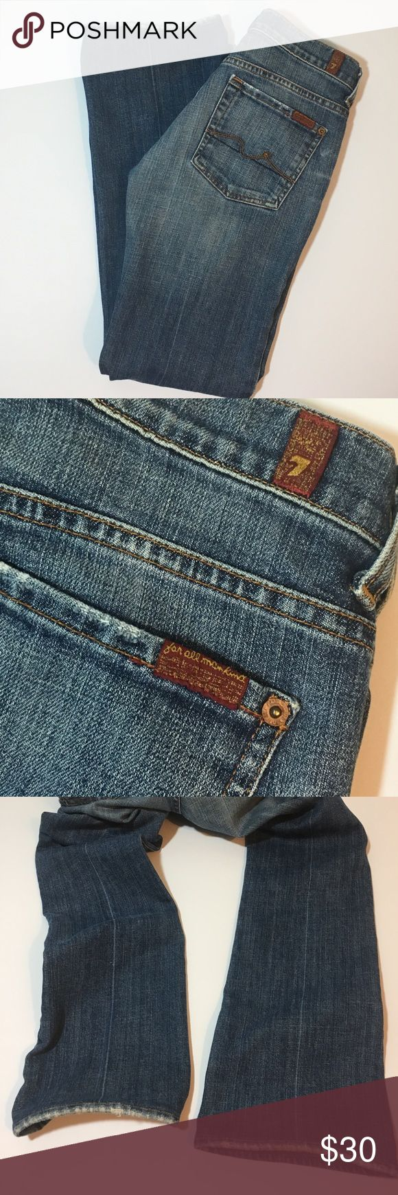 "7 For All Mankind boycut jeans Boy cut style mini boot jeans with button fly by 7 For All Man Kind. Inseam approx 28"", rise approx 7.5"" 🌸automatically save when you bundle or make an offer🌸 7 For All Mankind Jeans Boot Cut"