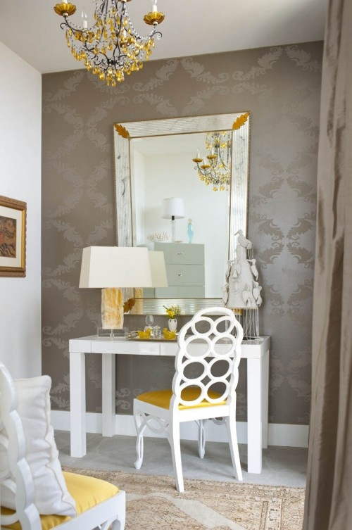Like The Taupe Damask Wallpaper With White And A Pop Of Yellow.  Contemporary BedroomMarketing IdeasBedroom DesignsBedroom ...