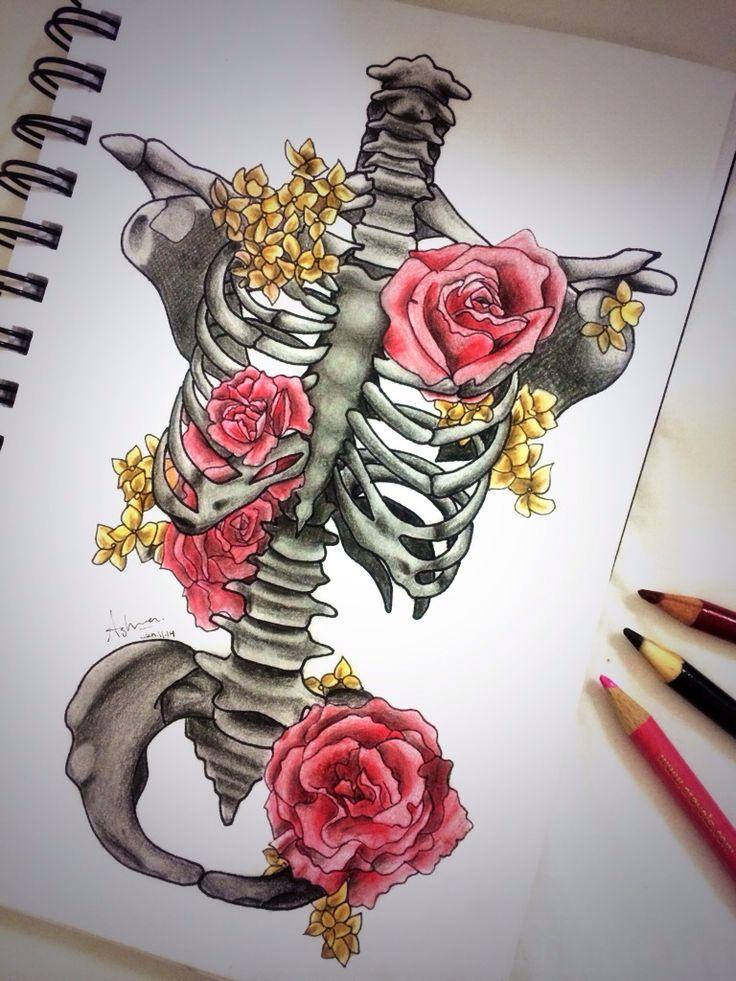 Bones and roses. Drawing. Ink. Illustration. Coloured pencils. Skeleton.