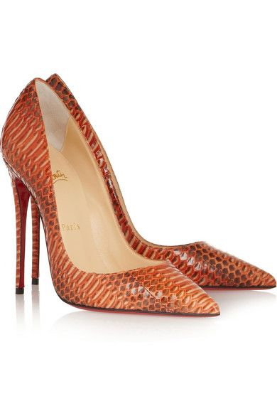 Heel measures approximately 120mm/ 5 inches Orange, brown and ecru watersnake Slips on Designer color: Papaya Watersnake: IndonesiaSmall to size. See Size & Fit tab.