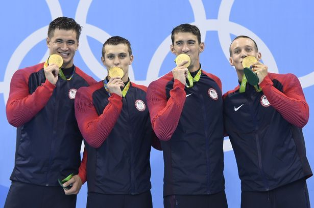 Gold! Nathan Adrian, Ryan Held, Michael Phelps, Caeleb Dressel, Men's 4x100m Freestyle Relay.  Rio