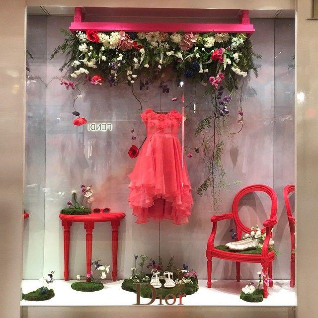 """""""#babydior #dior #paris #galerielafayette #summer #unexpected #garden #pink #red…"""