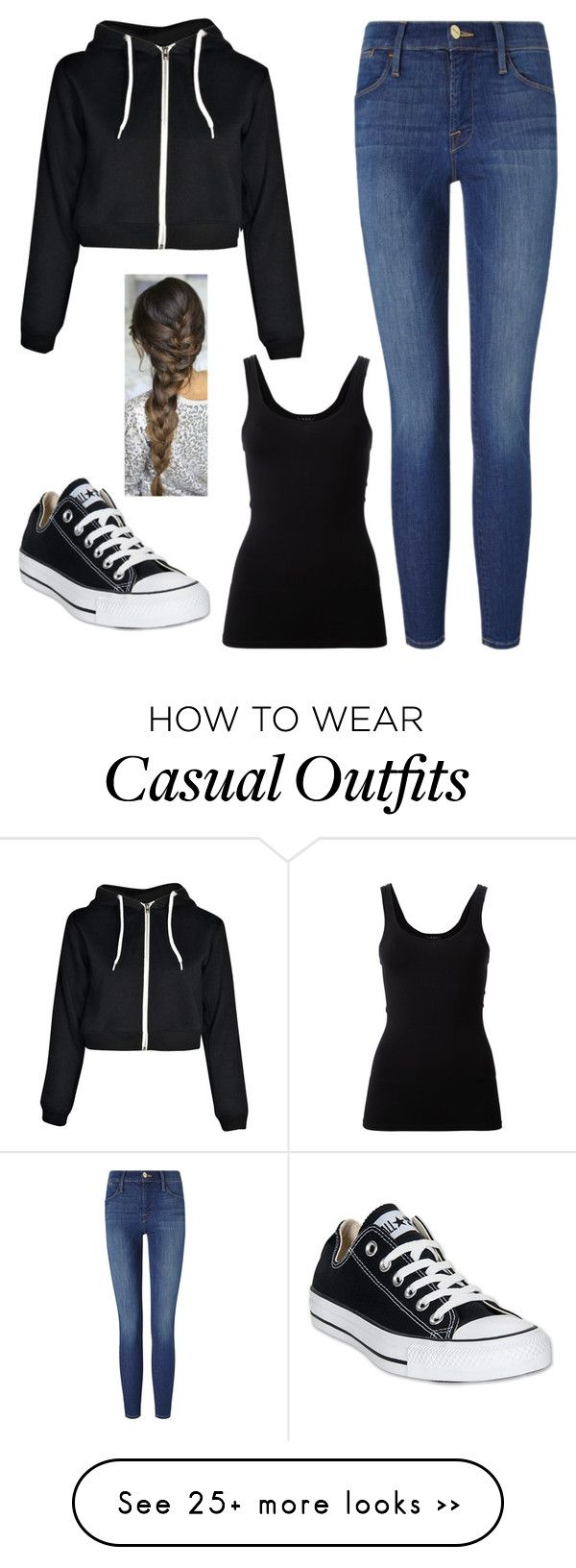 """Casual"" by cait-dancer on Polyvore featuring Boohoo, Frame Denim, Theory and Converse"