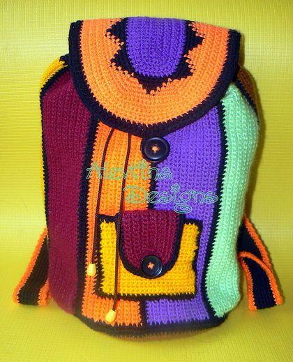 crochet bags, crochet backpack