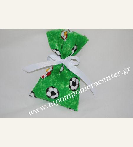 Μπομπονιέρα πουγκί ποδόσφαιρο - βαμβακερό ύφασμα