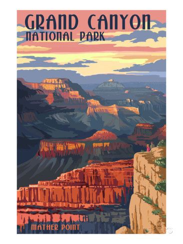 Grand Canyon National Park - Mather Point Prints by Lantern Press at AllPosters.com