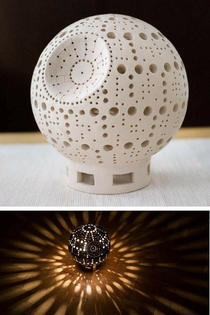 This Star Wars Death Star inspired ceramic lamp is gorgeous. Pretty room decor #starwars #deathstar #lamp #geek #homedecor #commissionlink