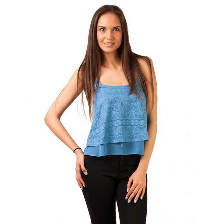 Top Cu Dantela Snowflakes of Love Blue - Tandos