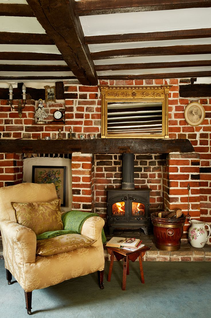 Living Room Upholstered Chair And Fireplace