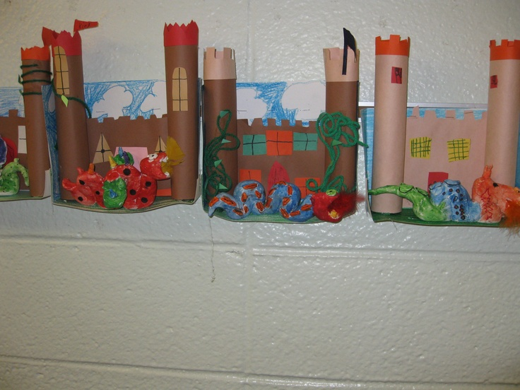 Welcome to our kingdom, guarded by dragons of clay, diorama, created by grade 2