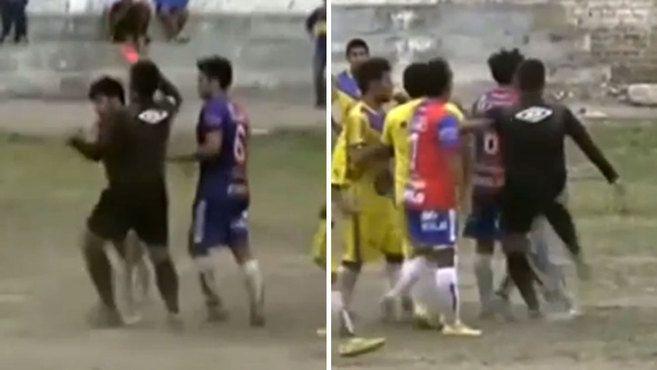 Un árbitro peruano se defiende a patadas al ser empujado por un jugador | Marca.com http://www.marca.com/futbol/resto-america/2017/05/26/5928969cca4741e57f8b45be.html