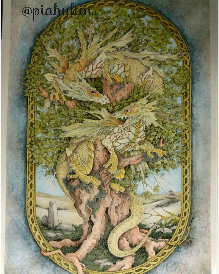 """The Dragon Tree"" by Linda Ravenscroft.  @linda.ravenscroft #lindaravenscroft #thedragontree #mondeluz #khoinoor #derwent #watercolours #winsornewton #vattenfärger #aquarell #aquarelles #daydreamscolouring #dragons #tree #magical #fantasy #arte_est_colorir #colouringbooks #adultcoloringbooks #coloringbooks"