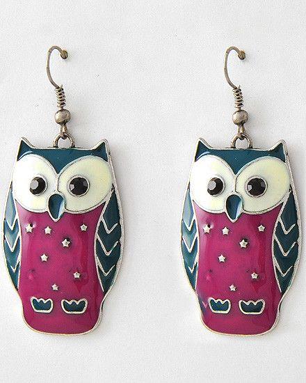 "Silver tone owl earrings, with fuschia & teal green epoxy owl dangles 1"" w x 2.25"" drop length"