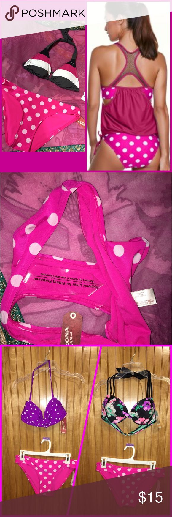 "BOGO 🆓Arizona Pink Polka Dot Bikini Bottom Sz M Cute and versatile Polka dot swim bottom. Is a size Juniors Medium, which is best for a 37-38.5""Hip. Can mix and match with other tops. NWT. Arizona Jean Company Swim Bikinis"