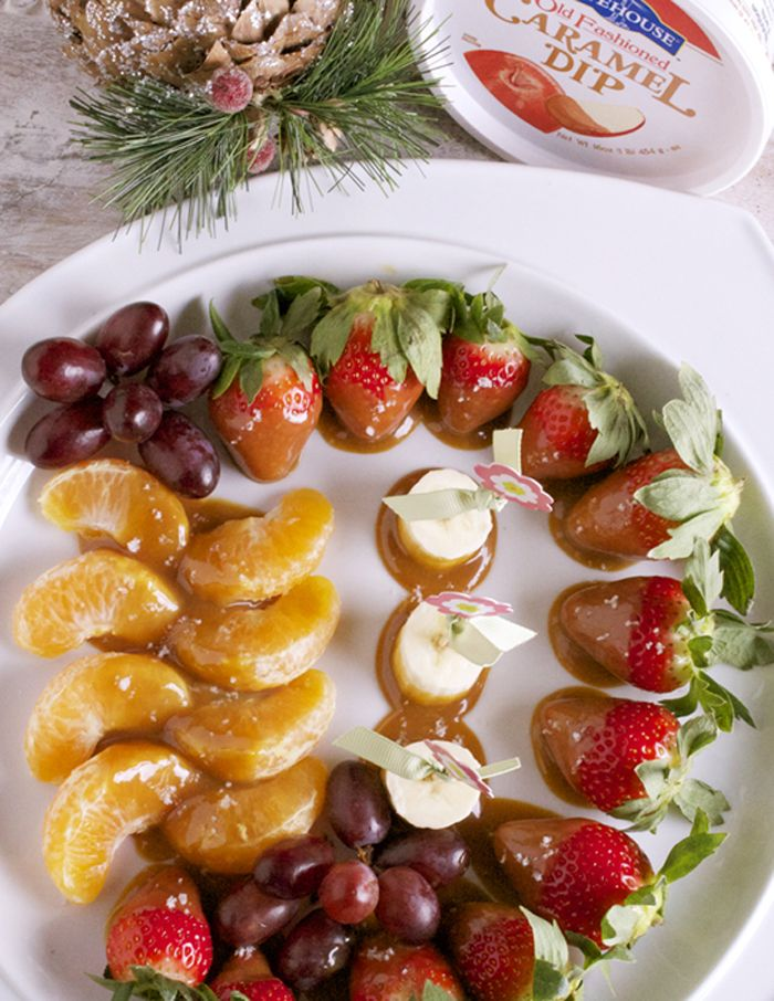 What could make a healthy holiday fruit tray even better? By adding a little bit of salted caramel of course! The fruit will taste delicious, but won't pack on the pounds like the fudge will!